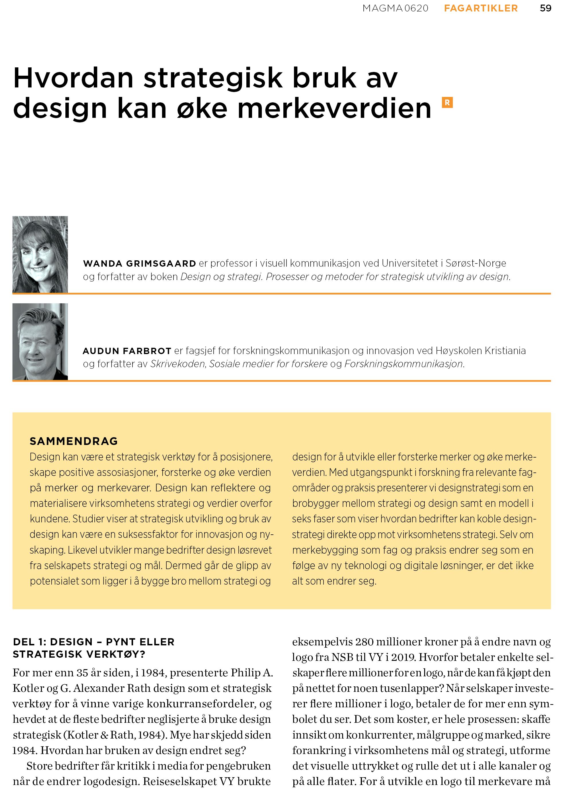 """Faksimile fra Magma nr. 6-2020, """"Markedsføring og merkevarebygging"""", s. (59-67). Publisert som papirutgave 27.10.2020. Forfattere: Wanda Grimsgaard, Audun Farbrot. Fagartikkelen er tilgjengelig som open-source."""