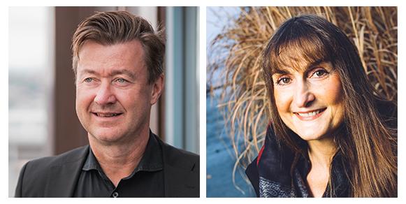Audun Farbrot fagsjef forskningskommunikasjon / Wanda Grimsgaard professor i visuell kommunikasjon.
